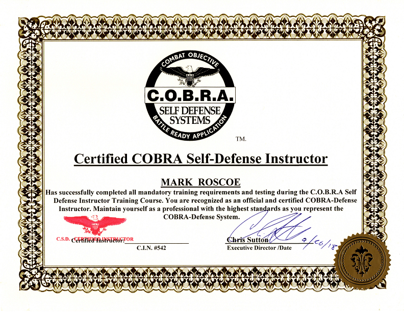 Shoken Self-Defense Instructor Receives COBRA Certification