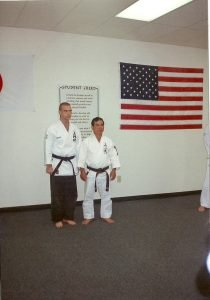 Black Belt Mark Roscoe with Uechi Sensei